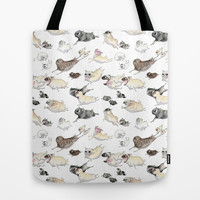Pugs on the Run! Tote Bag by InkPug   Society6