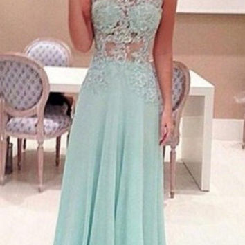 Lace See Through Prom Dresses,Mint Prom Dress