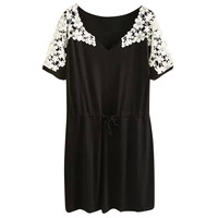 Black Floral Crochet Lace Paneled Elastic Waist Drawstring Dress