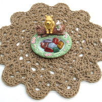 Round Centerpiece Doily or Small Accent Jute Rug - Pet Mat - Crochet Jute Centerpiece - Jute Trivet - Buffet Trivet - Dog or Cat Mat