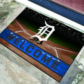 Detroit Tigers Door Mat 18x30 Welcome Crumb Rubber