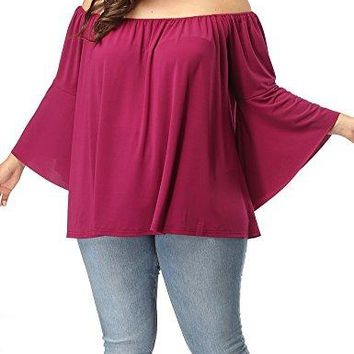 Allegrace Womens Plus Size Off Shoulder Long Bell Sleeve Blouse Tops Casual Pleated Flowy T Shirts