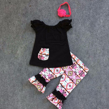Preorder-Black  top with Aztec Capri set