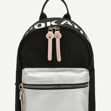 Pocket Front Color-block Backpack