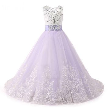 Lace Puffy Lace Flower Girl Dress for weddings Ball Gown Girl Party Communion Dress Pageant Gown