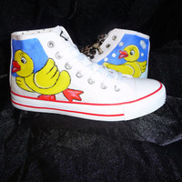 hand painted by granny grogs ducks canvas high top boots