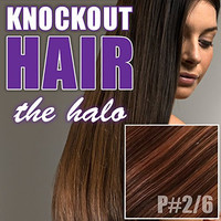 "Halo Hair Extensions 20"" Dark Brown/Light Warm Brown (#2/#6) - Human No Clip In Flip In Couture by Knockout Hair"