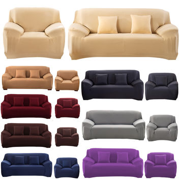 Sofa Cover Fashion Slipcover Stretchable Pure Color Polyester Fiber Sofa Cushion Washable Home/Office/Hotel Sofa Covers