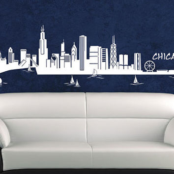 Wall Vinyl Sticker Decals Decor Art Bedroom Design Mural Words Sign Quote Chicago Skyline Poster (z955)