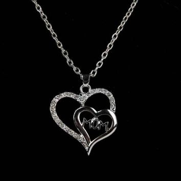 Double Heart Crystal Decor Mom Pendant Necklace