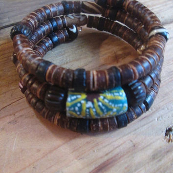 Triple Wrap , Memory Wire , Coco Shell , African ,  Krobos Bead , Carved Bone , Brown Green , Tribal Unisex, For Him