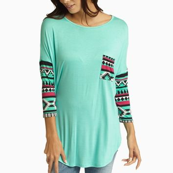 Aqua Tribal Printed Sleeve Top
