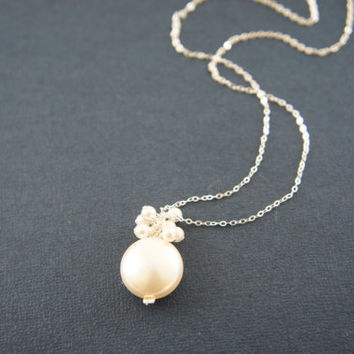 Cream pearl with white pearls necklace, wedding, bridesmaid, mother of bride, gift, message card