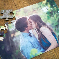 $149.00 Custom Photo Wedding Guest Book Puzzle  Wooden Wedding by sgcc
