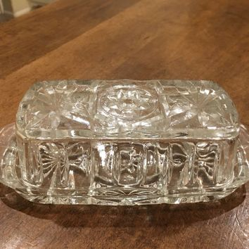 Anchor Hocking Crystal Clear Cut Glass Butter Dish and Lid Star Pattern Vintage