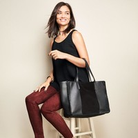 Leather and Suede Whipstitch Tote