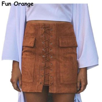 CREYYN6 Lady Autumn Lace Up Suede Leather Women Skirt 90's Vintage Pocket Preppy Short Skirt Winter High Waist Casual Skirts