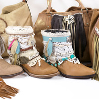 Decorated Cowboy Boots Free Size Custom Made Boho Festival Gypsy Western Art Ankle Boots