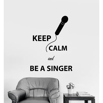 Vinyl Wall Decal Keep Calm Quote Karaoke Club Microphone Singer Keep Calm Stickers (3302ig)