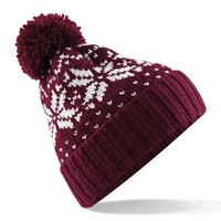 Beechfield Unisex Fair Isle Snowstar Winter Beanie Hat (One Size) (Classic Red / White)