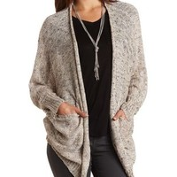 Marled Slouchy Dolman Cardigan Sweater - Ivory Combo