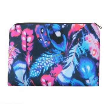 Colorful Tribal Feather Photo Printed Zippered Cosmetic Pouch Bag