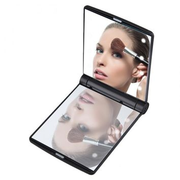 Makeup Mirrors Mini Portable Folding Compact Hand Cosmetic Make Up Pocket Mirror with 8 LED Light for Lady HB88