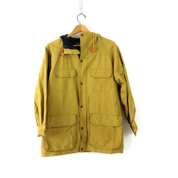 PARKA Coat Walrus Trench Nylon Cargo Pockets Jacket Hooded Drawstring Coat Womens Size Medium Lined in Green Blue Plaid Lining
