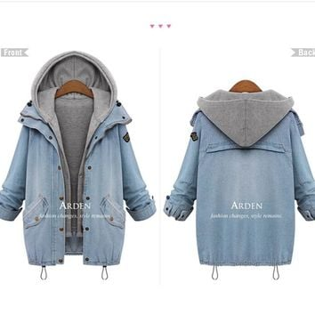 Womens Vintage Wash Denim Coat Hoodies With Vest 2Pcs +Gift Necklace
