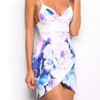 White Floral Print Spaghetti Strap Wrap Mini Dress