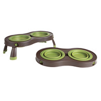 Dexas Popware Green & Brown Collapsible Pet Feeder
