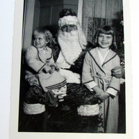 Vintage Photo Snapshot Santa Claus Christmas Wishes Children