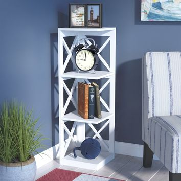 "Stoneford 3 Tier Corner 39"" Corner Unit Bookcase"