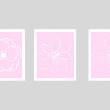 Set of 3 White Flower Blossoms on Baby Pink Prints CUSTOM COLORS Modern Art Prints for Nursery Decor Custom Colors Modern prints  8x10