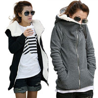 Inside Fur Zip-Up Side Pocket Hooded Fleece Jacket