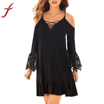 Women Sexy Dresses 2017 Summer Off The Shoulder Lace Long Sleeve vestido Bandage V neck Flare Sleeve Beachwear Mini Dress