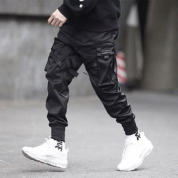 Men's Black Cargo Hip Hop Pants