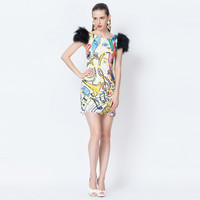 Printed Feather Shoulder Mini Dress