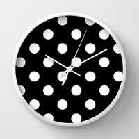Black with White Dots Wall Clock by Bella Bella Shoppe