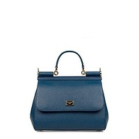 DOLCE E GABBANA WOMEN'S BB6002A100187398 BLUE LEATHER HANDBAG