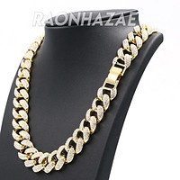 """Hip Hop Fully Iced Mens 18mm Heavy Miami Cuban Chain (Multiple Sizes 9"""" - 36"""")"""