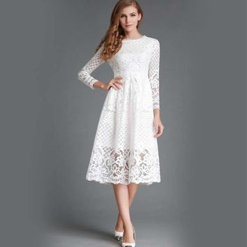 Summer Fashion New Hollow Out Elegant White Lace Elegant Party Dress High Quality Women Long Sleeve Casual Dresses Dr010 designer clothes
