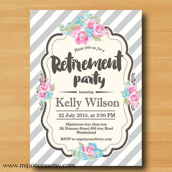 Retirement Invitations,  Retirement party rose floral Retirement Celebration  shabby chic flowers  - card 602