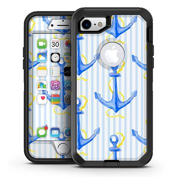 Striped Blue and Gold Watercolor Anchor - iPhone 7 or 7 Plus OtterBox Defender Case Skin Decal Kit
