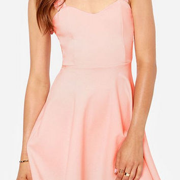 Pink Sleeveless Lace-Up Mini Dress