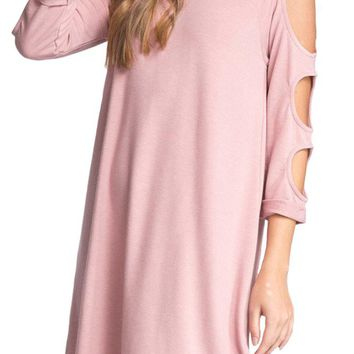 French Terry Raglan Dress with Cut out Detail