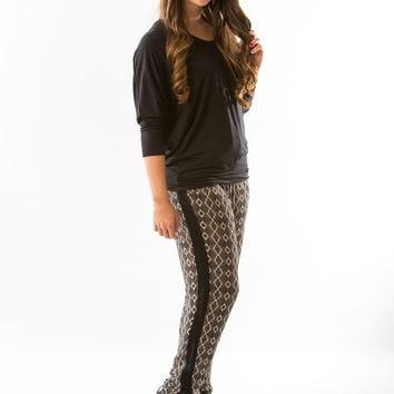 Taupe Printed Pants by Olive & Oak