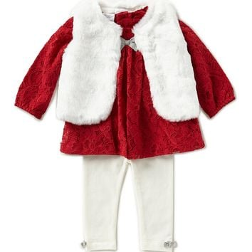 Starting Out Baby Girls 3-24 Months Long-Sleeve Top, Faux-Fur Vest, & Leggings 3-Piece Set | Dillards