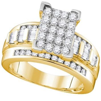 Yellow-tone Sterling Silver Women's Round Diamond Cluster Bridal Wedding Engagement Ring 1.00 Cttw - FREE Shipping (US/CAN)