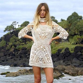 Boho Crochet Knitted Beach Dress